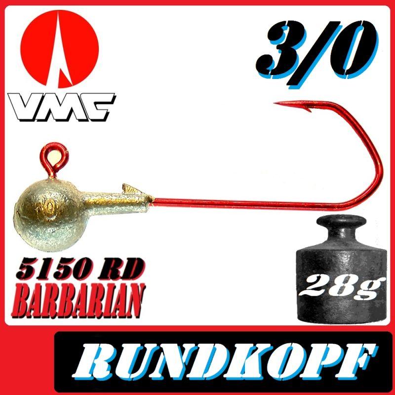 VMC Jigkopfhaken Jigkopf Rund 3//0 28g Jighaken 5 Stück im Set mit VMC Barbarian