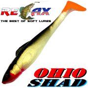 Relax Ohio Shad 5 Gummifisch ca. 14cm Farbe Goldperl Schwarz OT 1 Stück Hecht&Zanderköder
