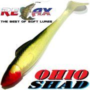 Relax Ohio Shad 5 Gummifisch ca. 14cm Farbe Goldperl Schwarz 1 Stück Hecht&Zanderköder