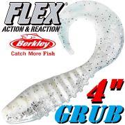 Berkley Flex Grub 4 Twister Gummifisch 10cm Ghost 2 Stück im Set!