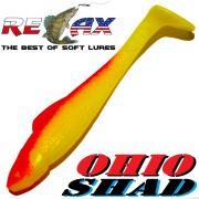 Relax Ohio Shad 2,5 Gummifisch ca. 7cm Farbe Gelb Rot 5 Stück im Set Barsch&Zanderköder