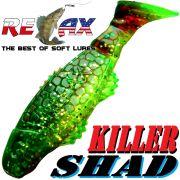 Relax Killer Shad Gummifisch 5,0 cm Grün Glitter Motoroil Softbait Angelköder für Forelle & Barsch