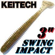 Keitech Swing Impact 3 Gummifisch 7,5cm Sahara Olive FLK 10 Stück