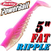 Berkley Power Bait Fat Ripple Shad Gummifisch 5 - 13cm Pink 3 Stück Gummifischset