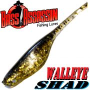 Bass Assassin Walley Shad 3 Inch ca. 7,5cm Farbe Gold Pepper Shiner 10 Stück im Set Zanderköder