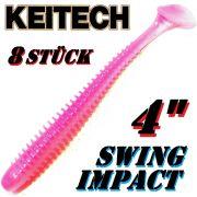 Keitech Swing Impact 4 Gummifisch 10cm Bubblegum Shad 8 Stück