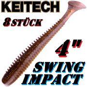 Keitech Swing Impact 4 Gummifisch 10cm Crystal Shad 8 Stück