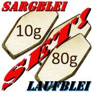 Sargblei Set / Laufblei Set mit 10 Gewichten 10/15/20/25/30/35/40/45/50/60/80g je 5 Stück = 55 Stück im Set