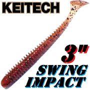 Keitech Swing Impact 3 Gummifisch 7,5cm Cinnamon PP. Red 10 Stück