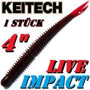 Keitech Live Impact 4 V-Tail Shad Gummiköder Cola 10 Stück im Set aromatisiert und gesalzen