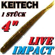 Keitech Live Impact 4 V-Tail Shad Gummiköder Green Pumpkin 10 Stück im Set aromatisiert und gesalzen