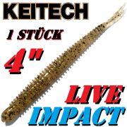 Keitech Live Impact 4 V-Tail Shad Gummiköder Gold Shad 10 Stück im Set aromatisiert und gesalzen