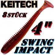 Keitech Swing Impact 4 Gummifisch 10cm Red Crawdad 8 Stück