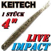 Keitech Live Impact 4 V-Tail Shad Gummiköder Silver Shad 10 Stück im Set aromatisiert und gesalzen