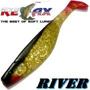 Relax Kopyto River 6 ca. 16cm Farbe Goldperl Goldglitter Schwarz Softbait Swimbait der ideale Großhecht & Welsköder für Bodden & Co.