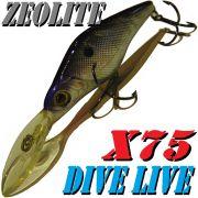 Zeolite Hirauchi Minnow Divelive - X75 Wobbler 7,5cm 10g Floating Color 001 Silber Schwarz