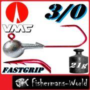 VMC Jighaken / Jigkopf - Rund Größe 3/0 21g mit VMC Fastgrip RD Haken 1 Stück