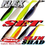 Berkley Flex Slim Shad 5 Gummifisch Set 12,5cm 8 Farben je 1 Stück = 8 Stück im Set
