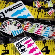 RawFinesse PB Marks Aufkleber mit Forelle Barsch Schwarzbarsch Zander und Hecht Farbe Cyan