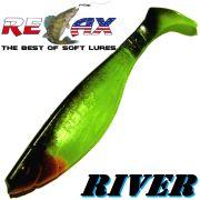Relax Kopyto River Gummifisch 10cm Perl Fluogrün Schwarz