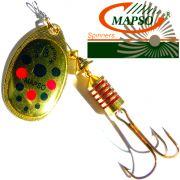 Mapso Spinner Reder Größe 2 Gewicht 4,5g Farbe Gold mit Punkten Spinnköder 1 Stück