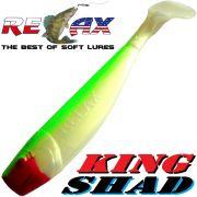 Relax King Shad Gummifisch ca. 11cm 4 Farbe Fluogrün Perl Zanderköder