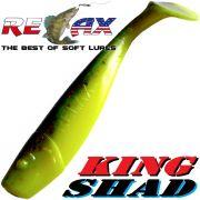 Relax King Shad Gummifisch ca. 11cm 4 Farbe Schwarz Gelb Glitter Zanderköder