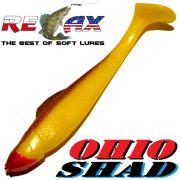 Relax Ohio Shad 4 Gummifisch ca. 10,5cm Farbe Gelb Braun 1 Stück Barsch&Zanderköder