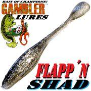 Gambler Lures Flapp´n Shad 6 Gummifisch ca. 15cm Farbe Smoke & Silver 8 Stück im Set Zanderköder