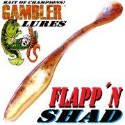 Gambler Lures Flapp´n Shad 6 Gummifisch ca. 15cm Farbe Brown Pumpkin Shad 8 Stück im Set Zanderköder