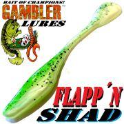Gambler Lures Flapp´n Shad 6 Gummifisch ca. 15cm Farbe Green Pepper Shad 8 Stück im Set Zanderköder