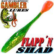 Gambler Lures Flapp´n Shad 6 Gummifisch ca. 15cm Farbe Fire Tiger 8 Stück im Set Zanderköder
