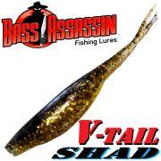 Bass Assassin Shad 4 V-Tailshad ca. 10cm Farbe Gold Pepper Shiner 8 Stück im Set Barsch & Zanderköder