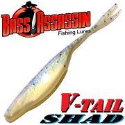Bass Assassin Shad 4 V-Tailshad ca. 10cm Farbe Crystal Shad 8 Stück im Set Barsch & Zanderköder