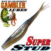 Gambler Lures Super Stud V-Tail Shad 5 ca. 12,5cm Farbe Ghost Shad 10 Stück im Set Zanderköder