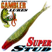 Gambler Lures Super Stud V-Tail Shad 5 ca. 12,5cm Farbe Bleeding Baby Bass 10 Stück im Set Zanderköder