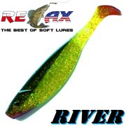 Relax Kopyto River 6 Gummifisch ca. 16cm Farbe Chartreuse Glitter Schwarz 1 Stück