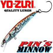 YO-ZURI Pin´s Minnow (SK) Singel Hook Wobbler 50mm 3g Slow Sinking Farbe KBKR UV Color Barsch&Forelle