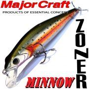 Major Craft Lures Zoner Minnow 90 Farbe N-05 Rainbow 90mm 11,5g Suspending Tauchtiefe 0,6-1,2m Barsch&Zanderköder