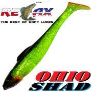 Relax Ohio Shad 4 Gummifisch ca. 10,5cm Farbe Grün Glitter Schwarz RT 1 Stück Barsch&Zanderköder