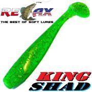 Relax King Shad Gummifisch ca. 11cm 4 Farbe Lime Glitter Zanderköder