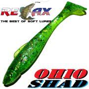 Relax Ohio Shad 4 Gummifisch ca. 10,5cm Farbe Lime Rainbow Glitter 1 Stück Barsch&Zanderköder