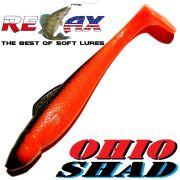 Relax Ohio Shad 4 Gummifisch ca. 10,5cm Farbe Orange Schwarz 1 Stück Barsch&Zanderköder