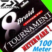 Daiwa Tournament 8 Braid rund geflochtene Angelschnur Farbe Chartreuse 0,26mm 24kg Lauflänge 100m