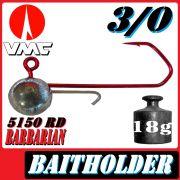 VMC Jigkopfhaken Jigkopf Rund mit Baitholder in Größe 3/0 18g Jighaken mit VMC Barbarian 5150 RD Haken 1 Stück