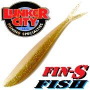 Lunker City Fin-S-Fish Gummifisch 5 -12,5cm Farbe White Gold No Action Shad Barsch & Zanderköder