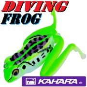 Kahara Diving Frog tauchender Gummifrosch ca. 60mm 17,2g Farbe Black Spotted Pond Frog Top Hechtköder