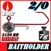 VMC Jigkopfhaken Jigkopf Rund mit Baitholder in Größe 2/0 7g Jighaken mit VMC Barbarian 5150 RD Haken 1 Stück