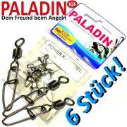Paladin Power K.-Wirbel Gr.8 Einhänger 22kg Cross Lock Karabiner + Power Wirbel 6 Stück