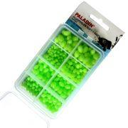Paladin Fluo Gummiperlen & Plastikperlen Set Soft & Hart Farbe Fluo Grün  in Kunststoffbox sortiert